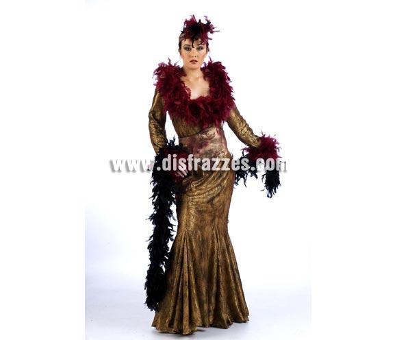 Disfraz de Mata Hari Extralujo. Alta calidad en telas y acabados. Fabricado en España. Disponible en varias tallas. Incluye vestido, cinturón, puños y turbante.