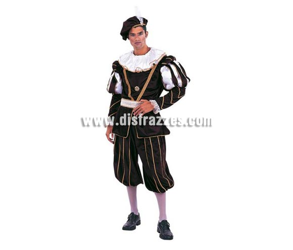 Disfraz de Época Príncipe Extralujo. Alta calidad en telas y acabados. Fabricado en España. Disponible en varias tallas. Incluye pantalón, gorro, cinturón y casaca con cuello.