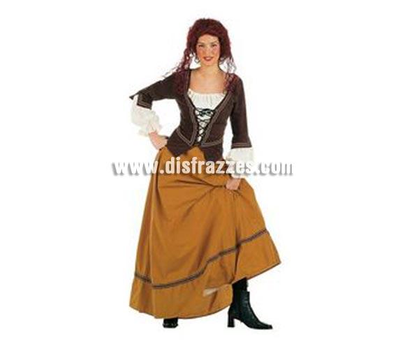 Disfraz de Cantinera Medieval Superluxe. Alta calidad en telas y acabados. Fabricado en España. Disponible en varias tallas. Incluye falda y corpiño con camisa. Disfraz de Tabernera, Posadera, Mesonera.