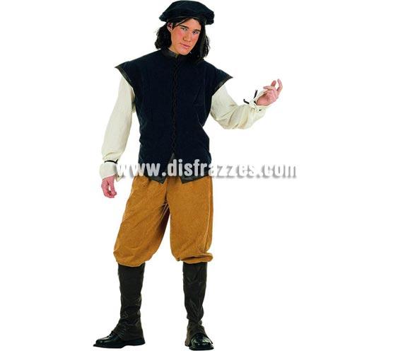 Disfraz de Cantinero Medieval Superluxe. Alta calidad en telas y acabados. Fabricado en España. Disponible en varias tallas. Incluye pantalón, gorro, cubrebotas y camisa con chaleco.
