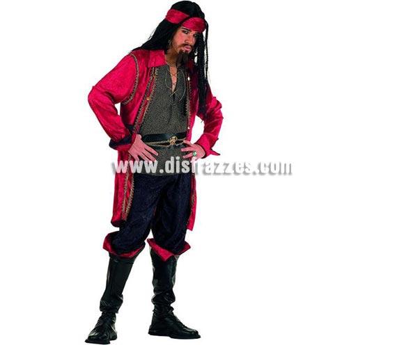 Disfraz de Pirata Corsario Valorius Superluxe. Alta calidad en telas y acabados. Fabricado en España. Disponible en varias tallas. Incluye pantalón, cinturón, cubrebotas, cinta cabeza, chaqueta con camisa y cinturón. Peluca y perilla NO incluidas, podrás verlas en la sección de Pelucas.