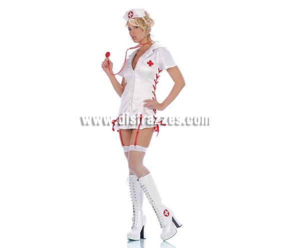 Disfraz de Enfermera Sexy Show. Altísima calidad. Disponible en varias tallas. Incluye vestido, cofia y estetoscopio. Botas NO incluidas.