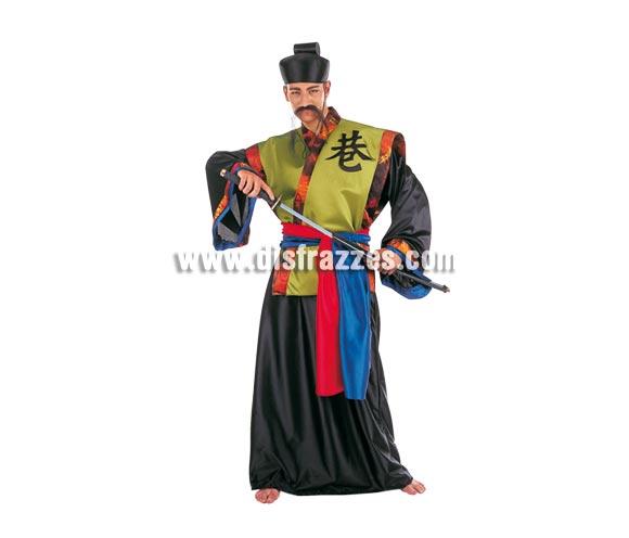 Disfraz de Samuray Dorado adulto Deluxe. Alta calidad. Hecho en España. Disponible en varias tallas. Incluye gorro, cinturón, túnica y kimono. Espada NO incluida, podrás verla en la sección Complementos.