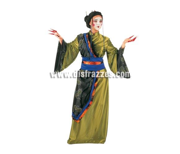 Disfraz de Gheisa Dorada Deluxe. Alta calidad. Hecho en España. Disponible en varias tallas. Incluye cinturón y kimono. Peluca NO incluida, podrás verla en la sección Pelucas.