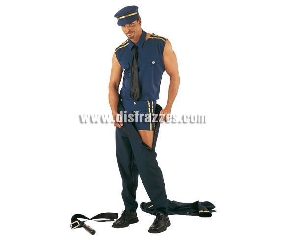Disfraz de Policía Sexy transformable Deluxe. Alta calidad. Hecho en España. Disponible en varias tallas. Incluye camisa, pantalón, gorra, cinturón, chaqueta, cuello con corbata y pantalón corto.