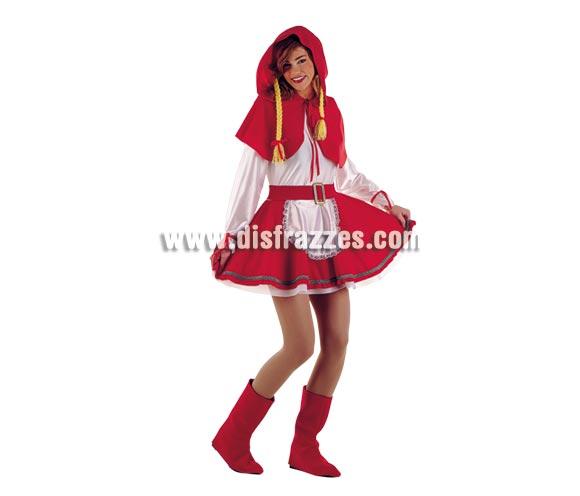 Disfraz de Caperucita adulta Deluxe. Alta calidad. Hecho en España. Disponible en varias tallas. Incluye cubrebotas, vestido con cinturón, y capelina con capucha y trenzas.