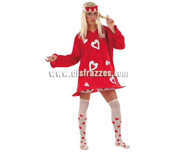 Disfraz de Corazones Sexy Rojo Hombre Deluxe. Alta calidad. Hecho en España. Disponible en varias tallas. Incluye vestido, cinta de la cabeza, calcetines y pantalón corto (Calzoncillos). -Cuando tiras de los 2 corazones que hay a la altura del pecho, se levanta la falda. Peluca NO incluida, podrás verla en la sección Pelucas.