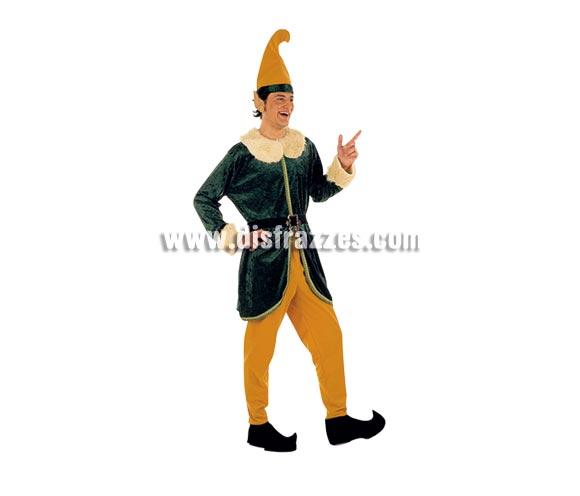 Disfraz de Elfo adulto deluxe para Carnaval. Alta calidad. Hecho en España. Disponible en varias tallas. Incluye pantalón, gorro, cubrebotas y casaca con cinturón. Traje de Duende para Navidad.