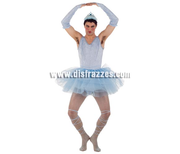 Disfraz de Bailarina azul hombre Deluxe. Alta calidad. Hecho en España. Disponible en varias tallas. Incluye falda, manguitos, cinta de los pies, traje completo y diadema.