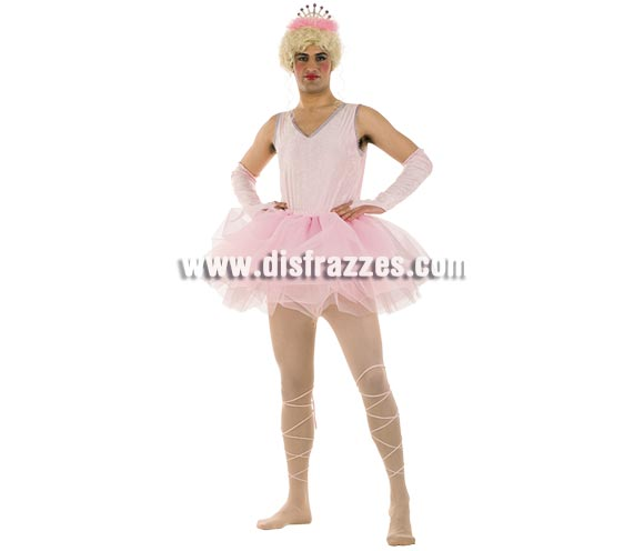 Disfraz de Bailarina Rosa hombre Deluxe. Alta calidad. Hecho en España. Disponible en varias tallas. Incluye falda, manguitos, cinta de los pies, traje completo y diadema. Peluca NO incluida, podrás verla en la sección Pelucas.
