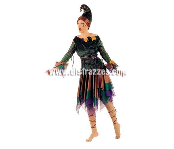 Disfraz de Elfa adulta deluxe. Disponible en varias tallas. Incluye camisa, falda, gorro y cintas de los pies. Alta calidad. Hecho en España. Traje de Duende para mujer.