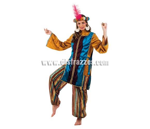 Disfraz de Jazmín Turquesa adulta Deluxe. Alta calidad. Hecho en España. Disponible en varias tallas. Incluye camisa, pantalón, turbante y casaca. Disfraz de Paje para mujer.
