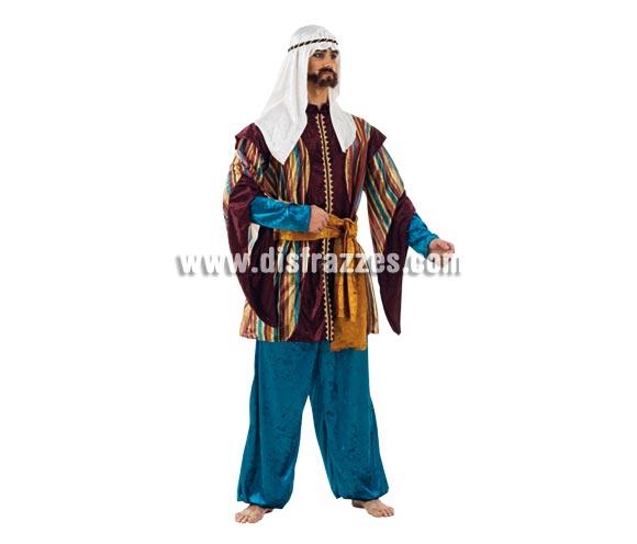 Disfraz de Tuareg Turquesa adulto Deluxe. Alta calidad. Hecho en España. Disponible en varias tallas. Incluye pantalón, pañuelo, casaca y fajín. Disfraz de Paje para Navidad.
