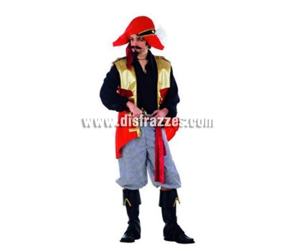 Disfraz de Pirata Saqueador adulto Deluxe. Alta calidad. Hecho en España. Disponible en varias tallas. Incluye pantalón, gorro con pañuelo, cinturón, camisa con chaleco y cubrebotas. Espada NO incluida, podrás verla en la sección Complementos.