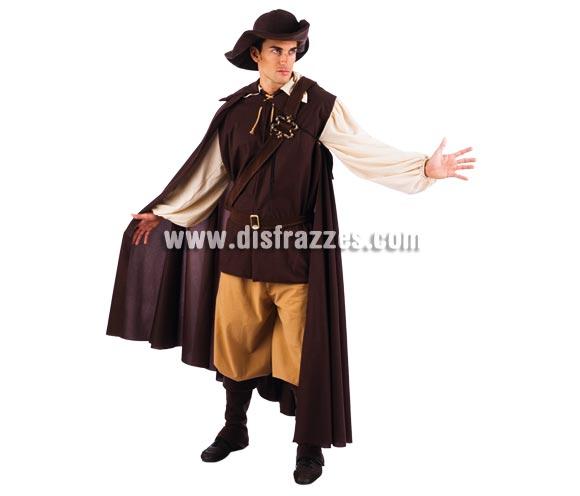 Disfraz de Aventurero Medieval adulto Deluxe. Alta calidad. Hecho en España. Disponible en varias tallas. Incluye pantalón, capa, gorro, cinturón, cubrebotas y casaca. Espada NO incluida, podrás verla en la sección Complementos.