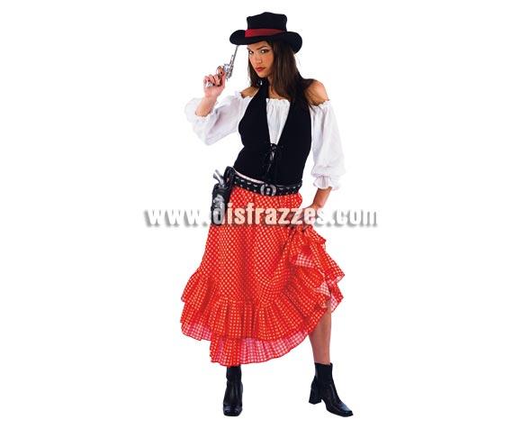 Disfraz de Vaquera Sue adulta Deluxe. Alta calidad. Hecho en España. Disponible en varias tallas. Incluye camisa, falda, corpiño y sombrero. Cartuchera y pistolas NO incluidas, podrás verlas en la sección Complementos.