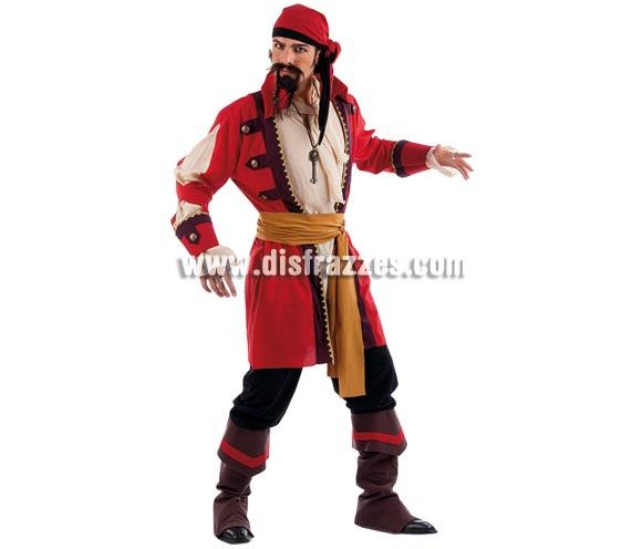 Disfraz de Pirata Bárbaro adulto Deluxe. Alta calidad. Hecho en España. Disponible en varias tallas. Incluye pañuelo, fajín, camisa con chaleco y pantalón con cubrebotas. Colgante y perilla NO incluidos, podrás verlos en la sección Pelucas y Complementos. Éste disfraz hace pareja con la ref. MA724LI.