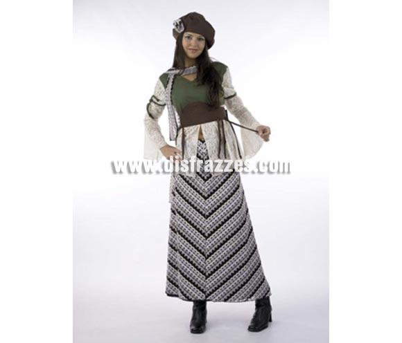 Disfraz de Bohemia Francesa adulta Deluxe. Alta calidad. Hecho en España. Disponible en varias tallas. Incluye camisa, falda, gorro y bufanda.