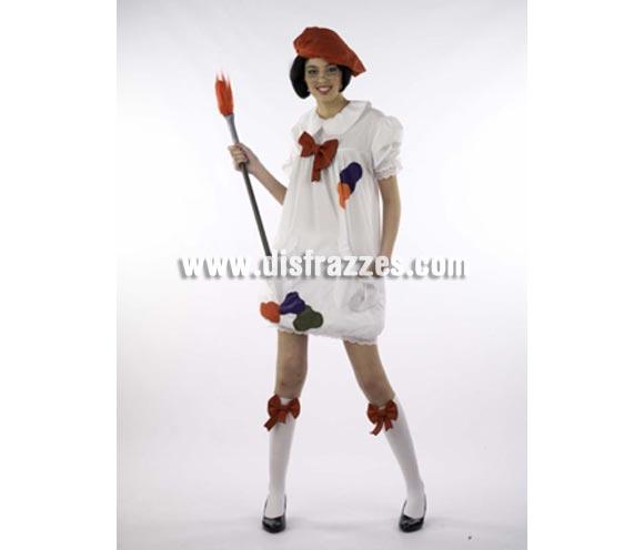 Disfraz de Lolita's Pintora Deluxe. Alta calidad. Hecho en España. Disponible en varias tallas. Incluye vestido, gorro, calcetines y pincel.