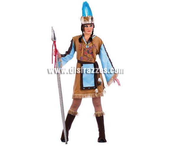 Disfraz de India Mohicana adulta Deluxe. Alta calidad. Hecho en España. Disponible en varias tallas. Incluye vestido con Strass, cubrebotas, diadema y delantal. Lanza NO incluida.