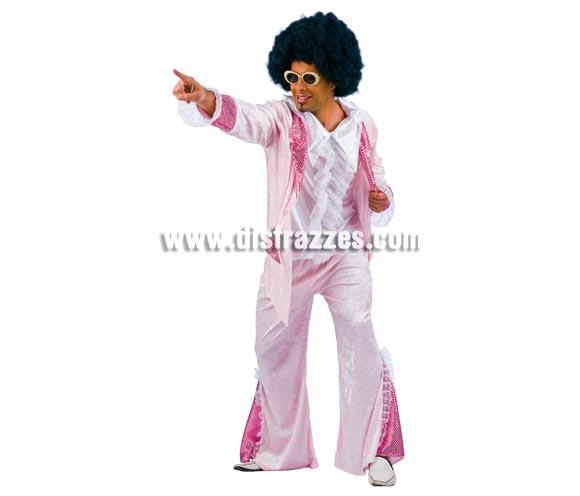 Disfraz de años 60 rosa adulto Deluxe. Alta calidad. Hecho en España. Disponible en varias tallas. Incluye pantalón y chaqueta con camisa. Peluca y gafas NO incluidas, podrás verlas en la sección Complementos y Pelucas. Serás el Rey de la Disco.