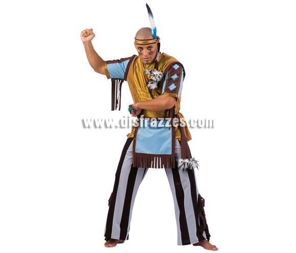 Disfraz de Indio Cherokee adulto Deluxe. Alta calidad. Hecho en España. Disponible en varias tallas. Incluye camisa, pantalón, cinta de la cabeza y delantal.