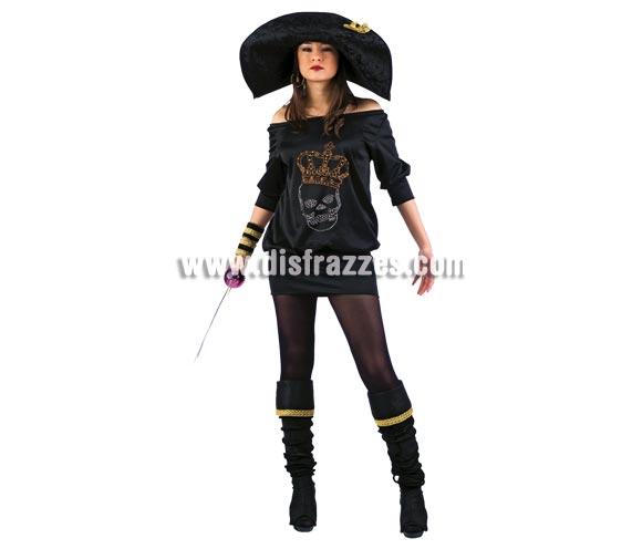 Disfraz de Lolita's Pirata Negra Deluxe. Alta calidad. Hecho en España. Disponible en varias tallas. Incluye vestido con dibujo de la Calavera hecho con Strass, cubrebotas, sombrero y muñequeras. Espada NO incluida, podrás verla en la sección Complementos.