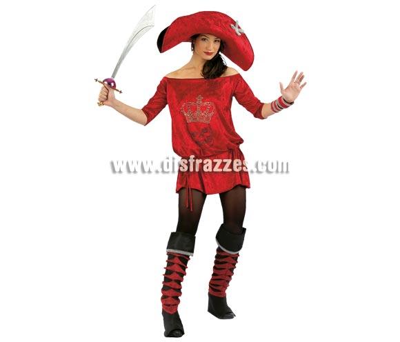 Disfraz de Lolita's Pirata roja Deluxe. Alta calidad. Hecho en España. Disponible en varias tallas. Incluye vestido con dibujo de calavera hecho de Strass, cubrebotas, sombrero y muñequeras. Espada NO incluida, podrás verla en la sección Complementos.