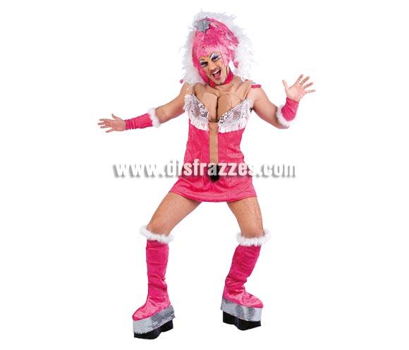Disfraz de Drag Queen Samba adulto Deluxe. Alta calidad. Hecho en España. Disponible en varias tallas. Incluye vestido con pechos, gorro, cubrebotas y manguitos.