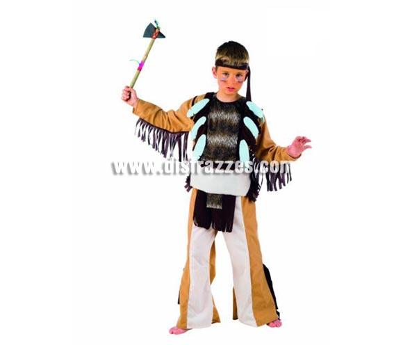 Disfraz de Indio Sioux infantil Deluxe. Hecho en España. Disponible en varias tallas. Incluye camisa, pantalón con delantal y cinta cabeza. Hacha NO incluida, podrás verla en la sección Complementos. OFERTA LIQUIDACIÓN DE STOCK. Precio Super - rebajado!!!