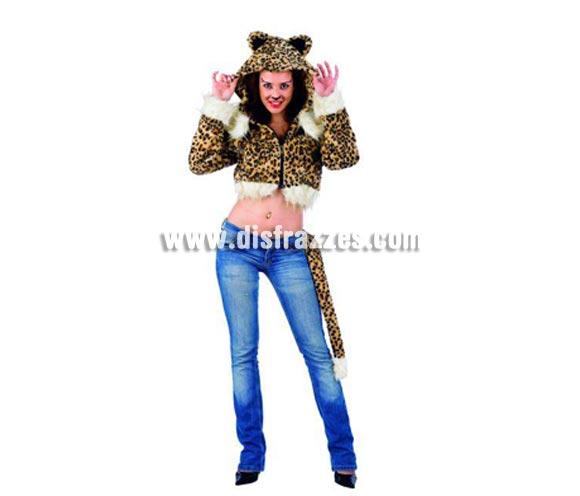 Cazadora Leopardo Deluxe. Alta calidad. Disponible en varias tallas. Incluye cazadora. Por si no te quieres poner un disfraz completo, con ésta cazadora irás disfrazada, pero diferente.