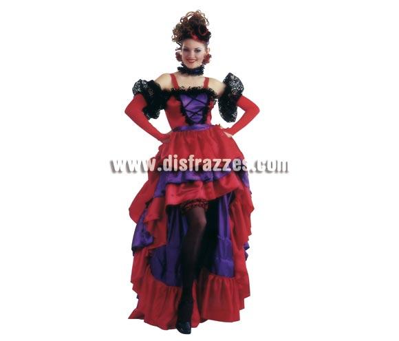 Disfraz de Can Can Moulin Rouge para mujer. Talla standar de mujer. Contiene vestido, cinturón, guantes, liga, tocado y gargantilla.