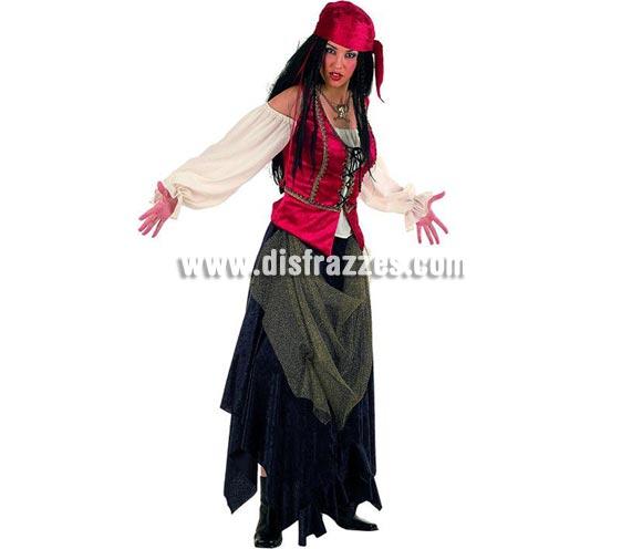 Disfraz de Pirata Corsaria Valorius Superluxe. Alta calidad en telas y acabados. Fabricado en España. Disponible en varias tallas. Incluye falda, pañuelo y corpiño con camisa.