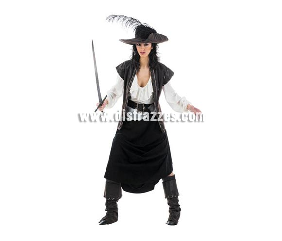 Disfraz de Mosquetera Maria Superluxe. Alta calidad en telas y acabados. Fabricado en España. Disponible en varias tallas. Incluye camisa, falda, cinturón, cubrebotas, sombrero y chaleco. Espada NO incluida, podrás verla en la sección Complementos.