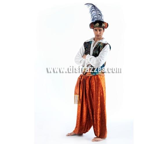 Disfraz de Tuareg Aladín Deluxe para hombre. Alta calidad, hecho en España. Disponible en varias tallas. Incluye camisa, chaleco, pantalón, turbante y fajín.