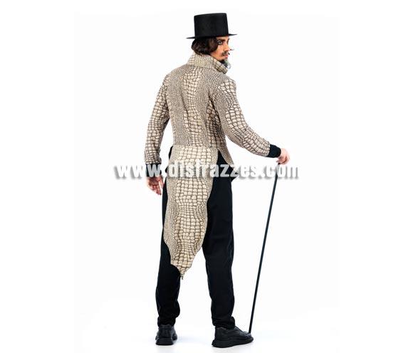 Disfraz de Vampiro Reptíl Deluxe para hombre. Alta calidad, hecho en España. Disponible en varias tallas. Incluye chaqueta, pantalón y pañuelo. Bastón y sombrero NO incluido, podrás encontrar en nuestra sección de Complementos.