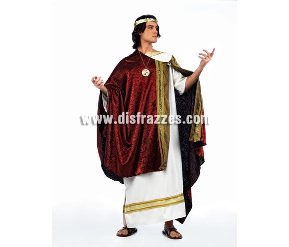 Disfraz de Prestor de Roma Deluxe para hombre. Alta calidad, hecho en España. Disponible en varias tallas. Incluye túnica y capa. Corona y colgante NO incluidos, podrás encontrar en nuestra seccón de Complementos.