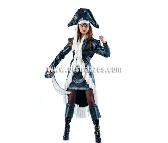Disfraz de Pirata Morgan Deluxe para mujer. Alta calidad, hecho en España. Disponible en varias tallas. Incluye casaca, falda, gorro y cubrebotas. Espada, parche ya anillo NO incluidos, podrás encontrar en nuestra sección de Complementos.