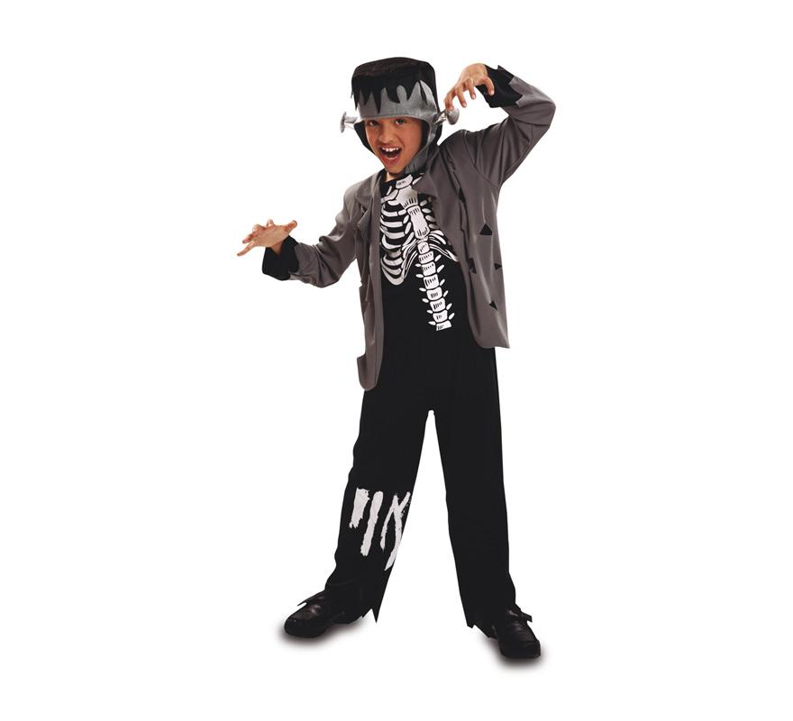 Disfraz de Monstruo Franky para Niño de 10 a 12 años. Frankenstein. Se compone de Chaqueta con Camisa, Pantalón y Casco. Perfecto para Halloween.