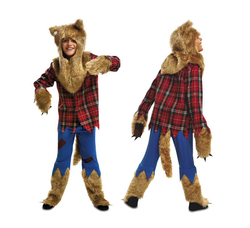 Disfraz de Hombre Lobo para Niño de 10 a 12 años. Niño Lobo. Se compone de Camisa, Capucha, Pantalón y Rabo. Perfecto para Halloween.