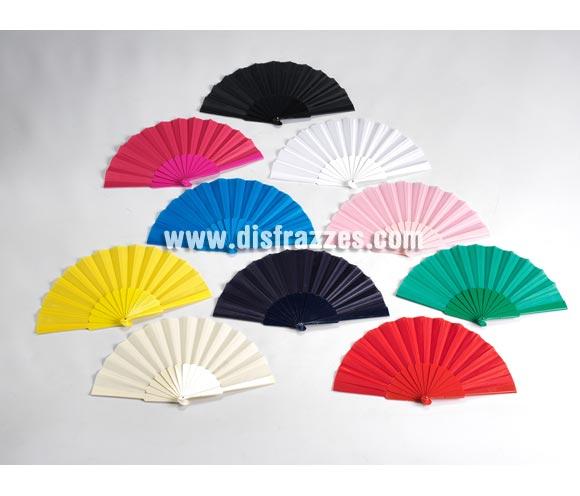 Abanicos de colores surtidos. Precio por unidad, se venden por separado. El complemento ideal para los disfraces de Sevillanas, Flamencas, Gitanas, Rocieras, etc. etc. También se piden mucho para Despedidas de Soltera.
