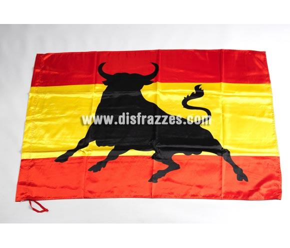 Bandera grande de España con Toro de 150x95 cm. Perfecta para ver los partidos y animar a nuestra Selección de Fútbol y/o en cualquier Deporte. SOY ESPAÑOL, ¿A QUÉ QUIERES QUE TE GANE?