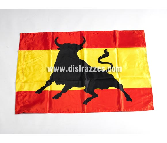 Bandera pequeña de España con Toro de 90x60 cm. Perfecta para ver los partidos y animar a nuestra Selección de Fútbol y/o en cualquier Deporte. SOY ESPAÑOL, ¿A QUÉ QUIERES QUE TE GANE?