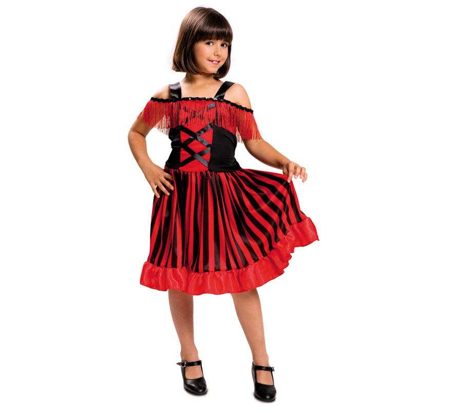 Disfraz de Can Can para Niña de 5 a 6 años. Disfraz que también vale como chica del antigüo Oeste. Sólo incluye Vestido. Completa tu disfraz con artículos de nuestra sección de accesorios como boa, abanico, medias, guantes, boquilla de cigarrillo...
