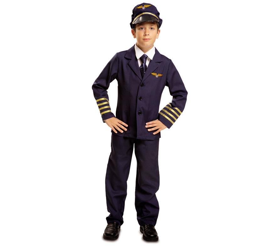 Disfraz Piloto de Vuelo Comercial para Niño de 7 a 9 años. Se compone de Gorra, Camisa, Chaqueta, Corbata y Pantalones. Completa tu disfraz con artículos de nuestra sección de accesorios.