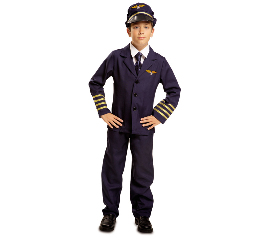 Disfraz Piloto de Vuelo Comercial para Niño de 10 a 12 años. Se compone de Gorra, Camisa, Chaqueta, Corbata y Pantalones. Completa tu disfraz con artículos de nuestra sección de accesorios.