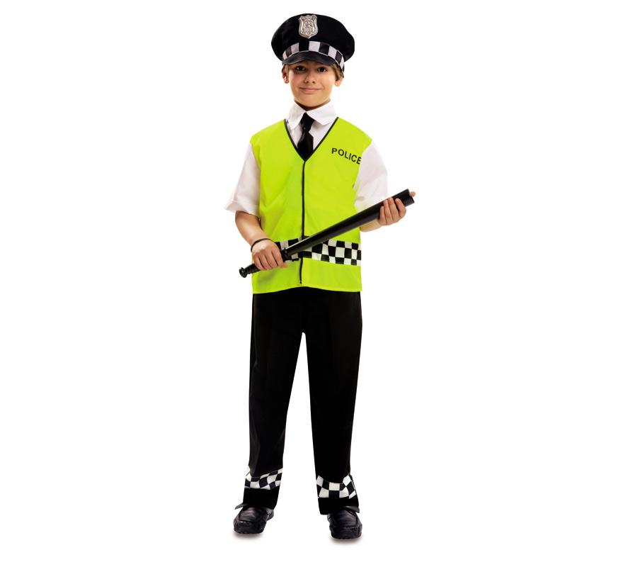 Disfraz de Policía Urbano para Niños de 7 a 9 años. Se compone de Chaleco con Mangas, Pechera, Corbata, Pantalón y Gorra. Completa tu disfraz con artículos de nuestra sección de accesorios como Porra, Pistola, Placa, Esposas...