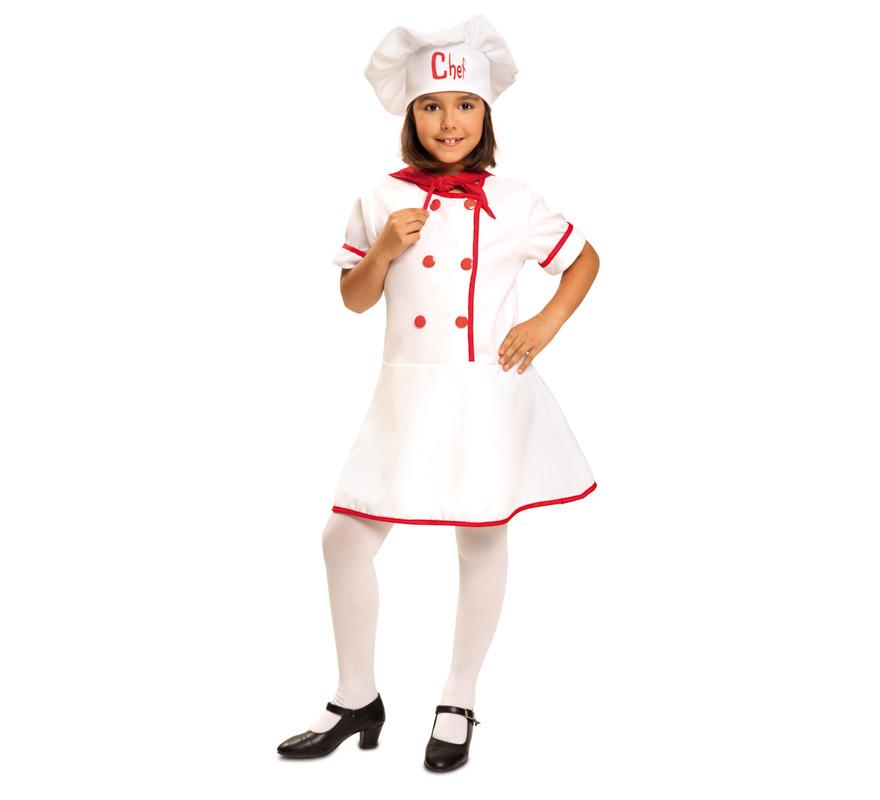 Disfraz de Cocinera Chef para Niña de 5 a 6 años. Se compone de Vestido, Pañuelo del cuello y Gorro. Completa tu disfraz con artículos de nuestra sección de accesorios como hacha, cuchillo, pollo...