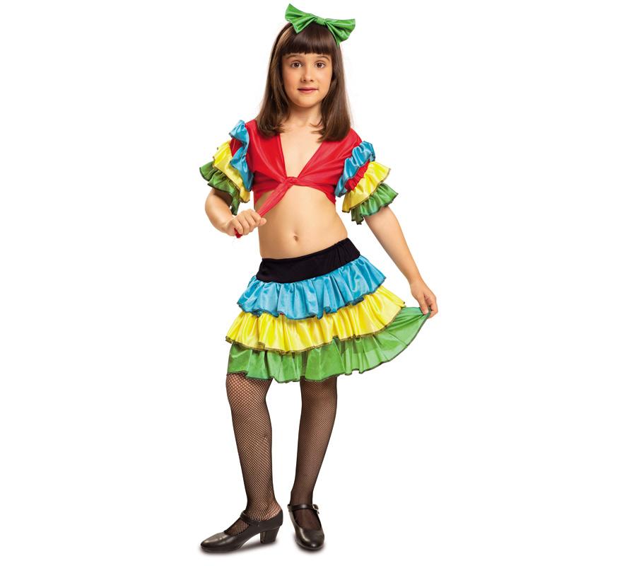 Disfraz de Rumbera para Niña de 10 a 12 años. Salsa, Brasileña o Caribeña. Se compone de Camisa, Falda y Diadema. Completa este disfraz con artículos de nuestra sección de accesorio como medias, gorro con frutas, maracas...