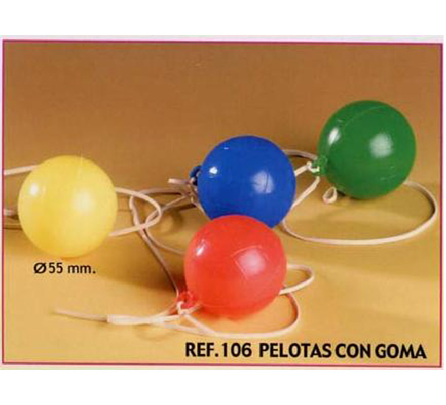 Bolsa de 25 uds. Pelotas con goma para Carrozas. Colores variados. También sirve como relleno de Piñatas para los Cumpleaños.